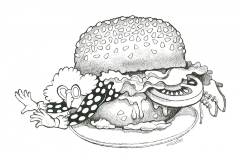 Gertrude in a hamburger