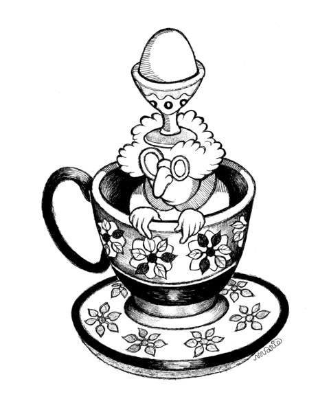 Gertrude in the tea cup with egg cup