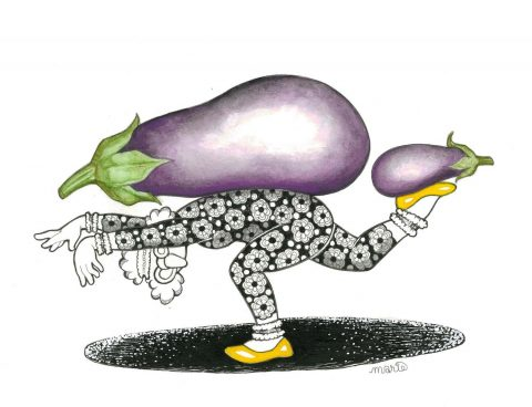 Gertrude's Pilates With Aubergines (Framed)