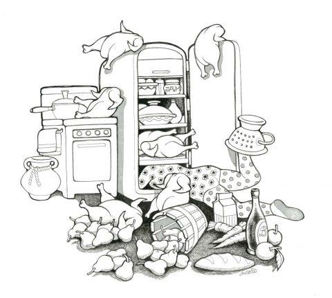 Gertrude's  Kitchen Chaos (Framed)