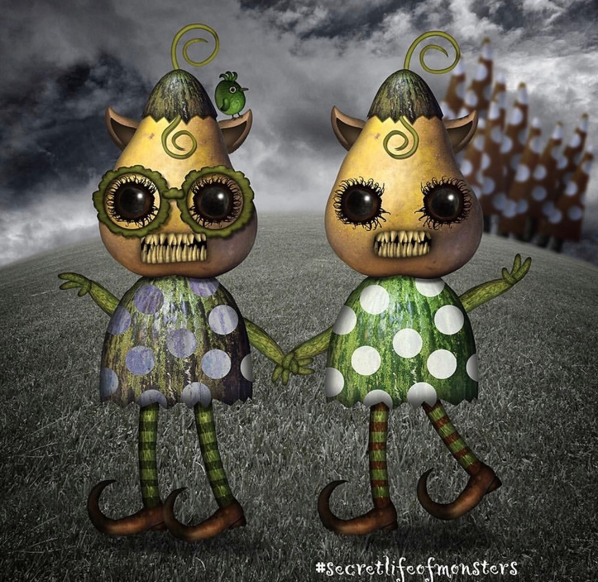 Monster twins of Quirky (Framed)