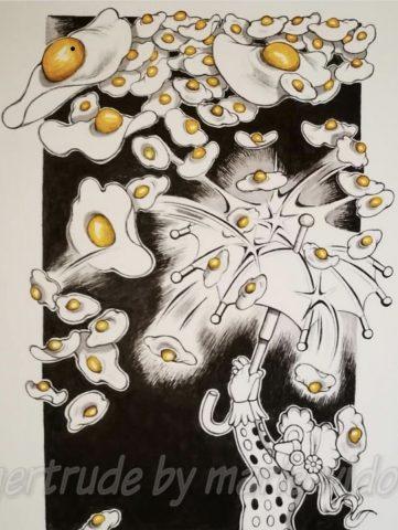 Gertrude in the fried egg rain (Framed)