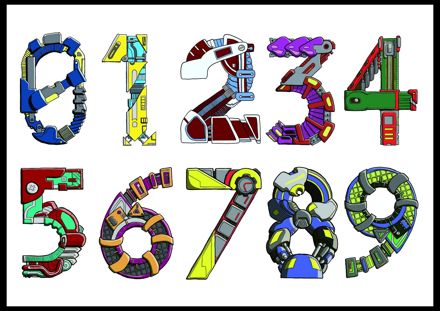 Mechanical letters - 0 to 9