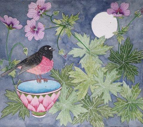 one pink robin and cranesbill Unframed
