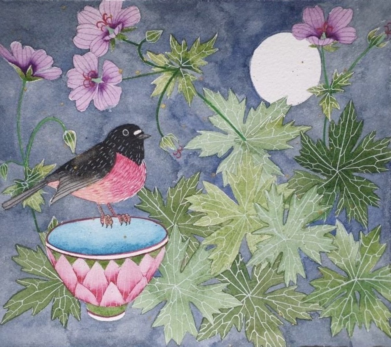 one pink robin and cranesbill Unframed