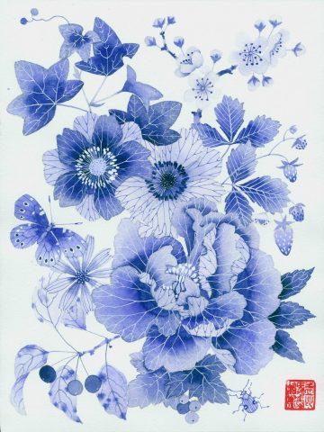 Blue floral 2  - Unframed