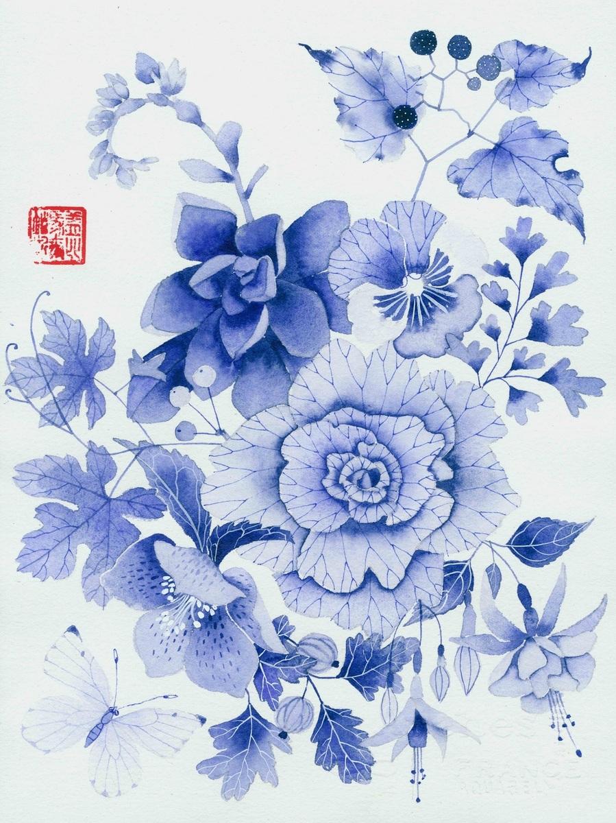 Blue floral 1 - Unframed